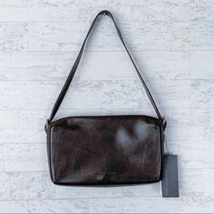 Kenneth Cole brown leather flat flap shoulder bag